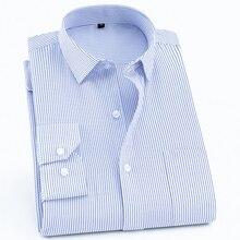 Shirts Easycare Formal-Dress Slim-Fit Front-Pocket Business Long-Sleeve Office Striped