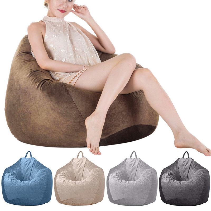 Velvet Covers For Bean Bag Sofa Chair Without Filling Lounger Seat Bean Bags Puff Couch Home Living Room Lazy Sofa Covers S/M/L