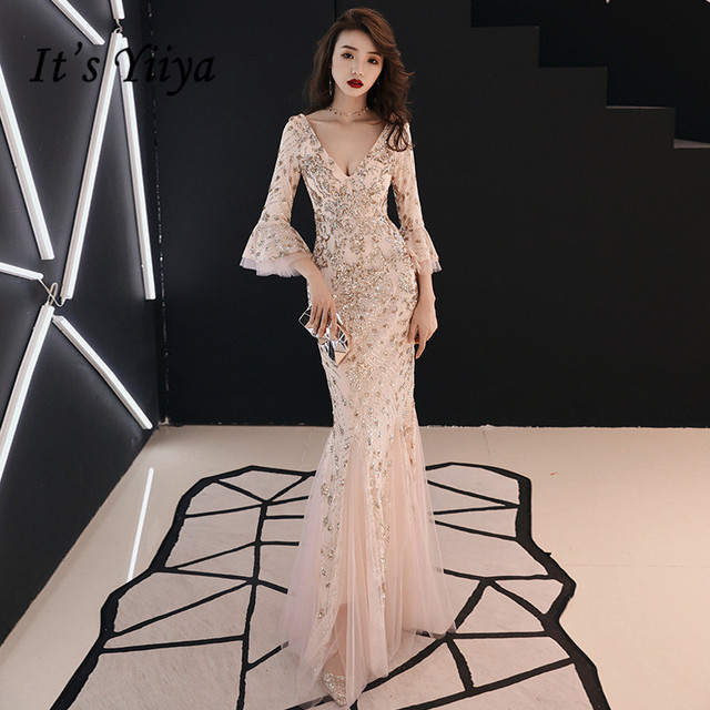Bu YiiYa akşam elbise şampanya altın Sequins büyüleyici resmi trompet elbisesi v yaka parlama kollu uzun parti elbiseler E063