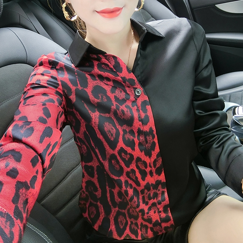 Fashion Sexy Patchwork Print Leopard Blouse Women Clothes 2020 Spring Autumn Button Pullover Base Shirt Ropa Mujer Tops T02605