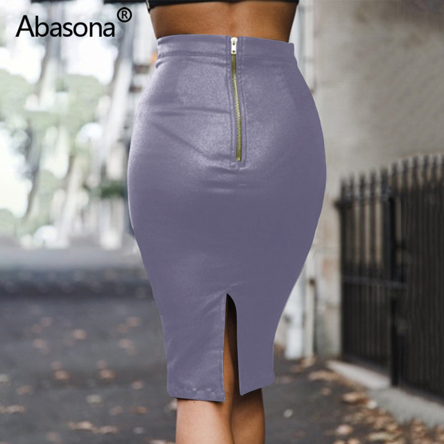 Abasona Velvet High Waist Long Pu Faux Leather Pencil Skirt Zip Split Knee Length Sexy Bodycon Midi Skirts Casual Spring Summer 6