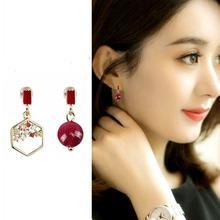 needle Red Pearl asymmetric Earrings Baroque retro net Red Fashion Earrings Tassel Earrings wholesale xinhan needle fashion pearl earrings long tassel earrings women simple earrings accessories wholesale