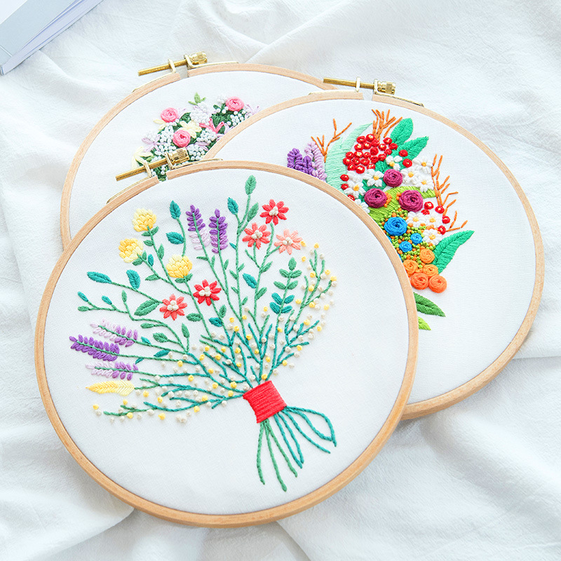 Flower Printed Pattern Embroidery Kits for Beginner Needlework Cross Stitch Handmade Sewing Craft Wall Painting Art Home Decor