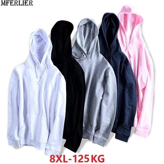 Осенние мужские и женские спортивные худи, Большая распродажа свитеров, флисовая толстовка с капюшоном, большие размеры 8XL, хлопковое Свободное пальто большого размера розового и синего цвета