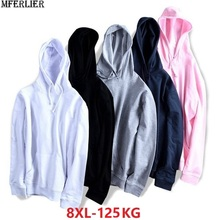 Jesień mężczyźni kobiety sportwear bluzy duża sprzedaż bluzy polarowa bluza z kapturem duży rozmiar 8XL bawełna luźny, typu oversize płaszcz różowy niebieski