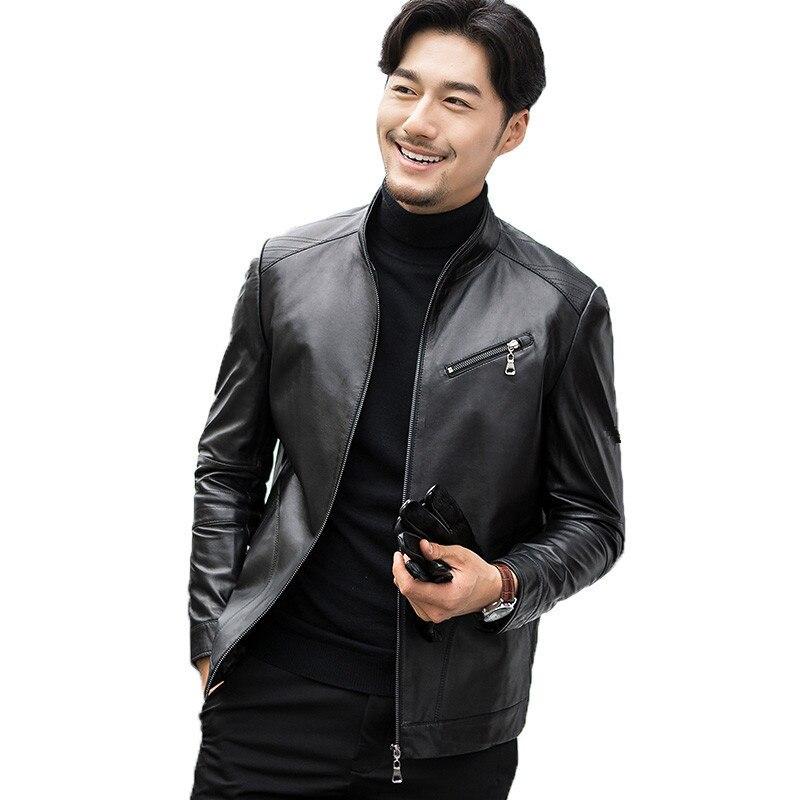 Genuine Leather Jacket Spring Autumn Jacket Men Real Sheepskin Coat For Men Streetwear Baseball Jacket Chaqueta FSBAQS001 MY1827