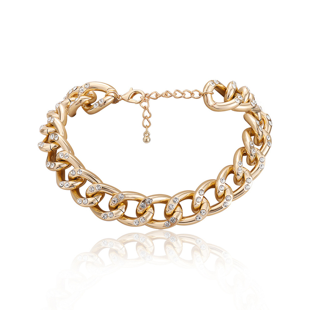New Punk Choker Necklace for Women 2020 fashion Rhinestone Hip Hop Gold collares Thick Chain Jewelry Gifts#38 2