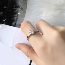 Glamour Silver Ring 2019 New Fashion Creative Six-claw Crystal Simple Simulation Wedding Classic Woman Sales