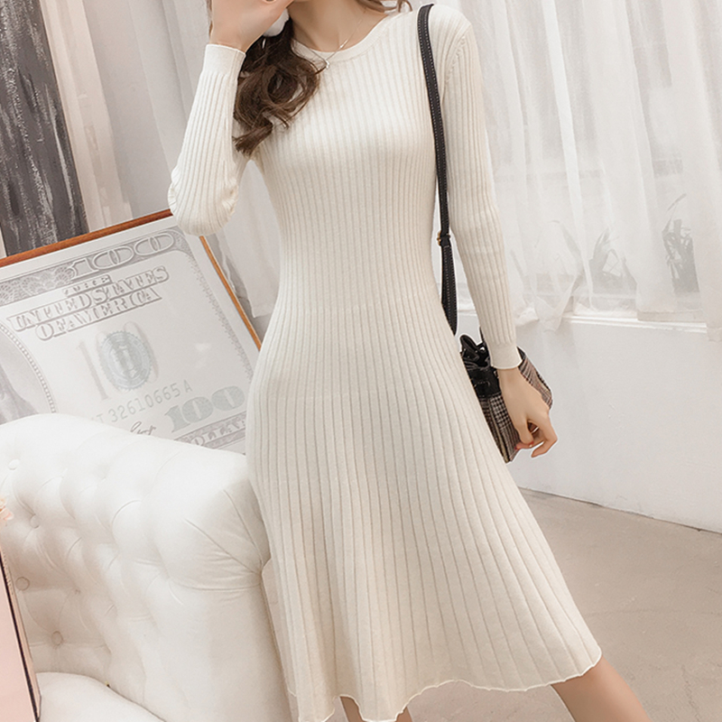 Korean Sweater Dress Women Knitted Dresses Fashion Woman Pullovers Sweaters Dresses Woman High Waist Pleated Dress Elegant Thick