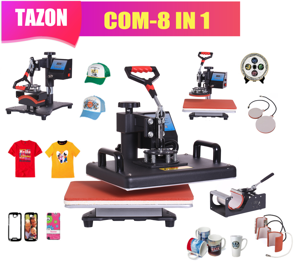 T-Shirt Mug-Plate Heat-Press-Machine Sublimation Printer Thermal-Transfer-Cloth Combo title=