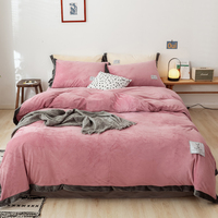 Winter Super Soft Crystal Velvet Bedding Set Bed Sheet Duvet Cover Pillow Case Skin friendly Breathable Bedclothes Bed Set