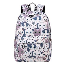 School Bag Waterproof Cat Printing Backpack Women School Students Back Pack Female 14-15.6 Inch Laptop Cute Book Bag for Girls(China)