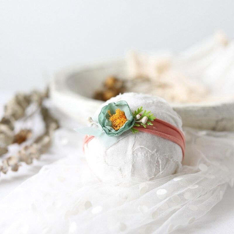 Headband For Girls Newborn Photography Vintage Tieback Headbands Dried Chiffon Flowers Baby Photos Prop Floral