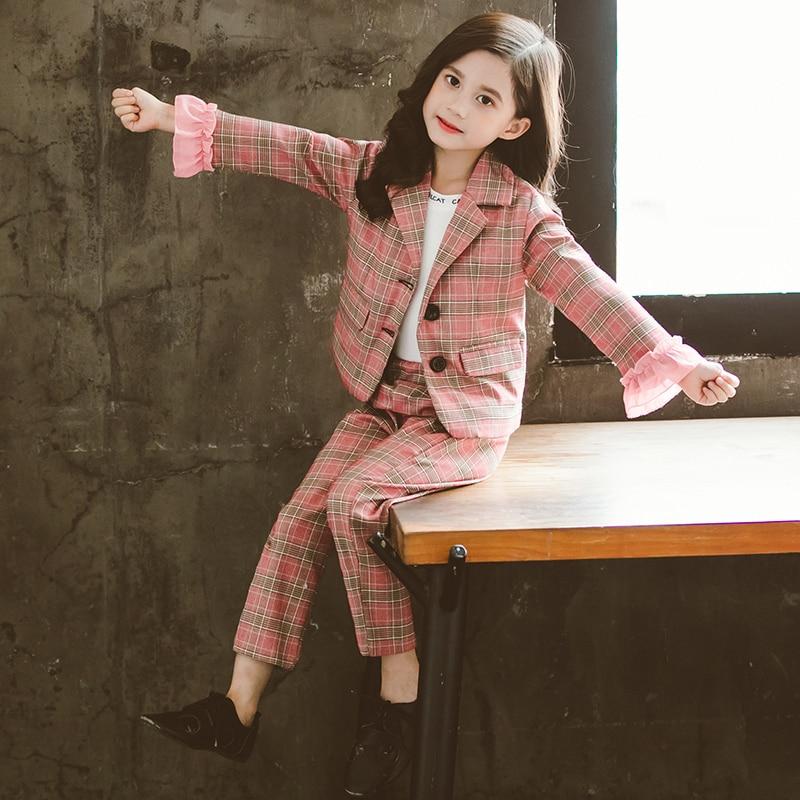 Осенний клетчатый костюм для девочек комплект из двух предметов, модный кружевной плетёный костюм с длинными рукавами в британском стиле д