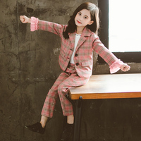 Girls Fall Chequered Suit Two Pieces Kids Trendy Ruffles Spliced Long sleeved British Style Suits Children's Casual Clothes P238