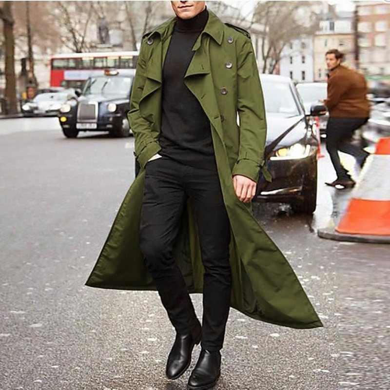 Männer Mantel Vintage Lange Graben Mantel Männer neue Jacke Mäntel Herren Business schwarz Casual Lange Feste Windschutz Mantel Herbst Outwear
