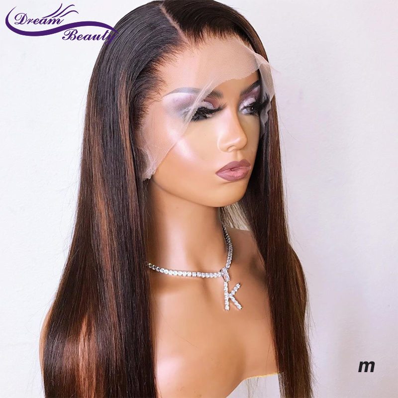 13x6 Straight Lace Front Human Hair Wigs Pre Plucked Baby Hair Ombre Highlights Brazilian Remy Lace Front Wigs Dream Beauty