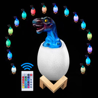 Artpad 3D Dinosaur Eggs Table Night Light Rechargeable with Remote Control Kids Boys Girls Gift Lamp Dimmable 16 Color Led