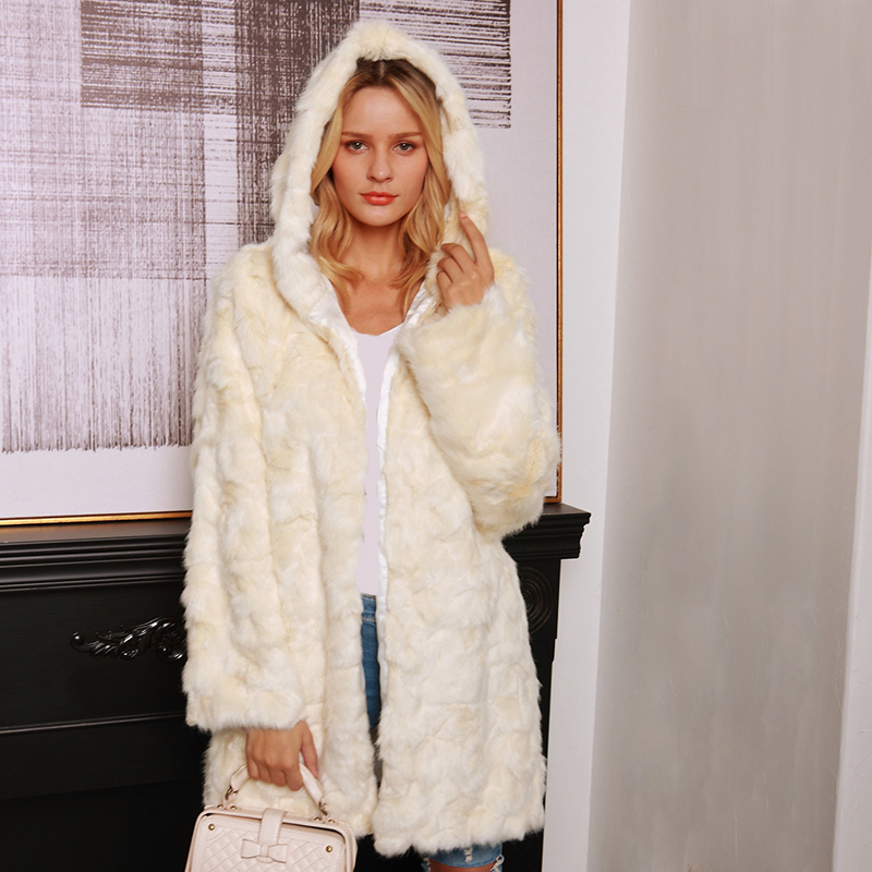 Womens Long Fur Jacket 2019 Fashion Women Faux Fur Hoodie Coats Winter Warm Fluffy Jacket Ladies Hooded Outwear Long Furry Coats