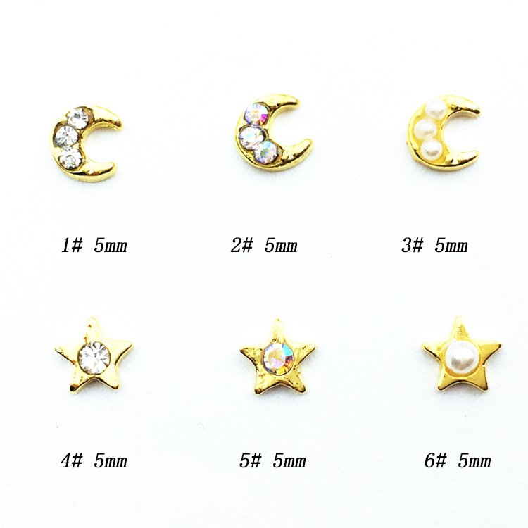 Nail Ornament Drill Japanese-style Moon And Stars Diamond New Style Metal Star Moon Rhinestone Pearl Manicure Stickers