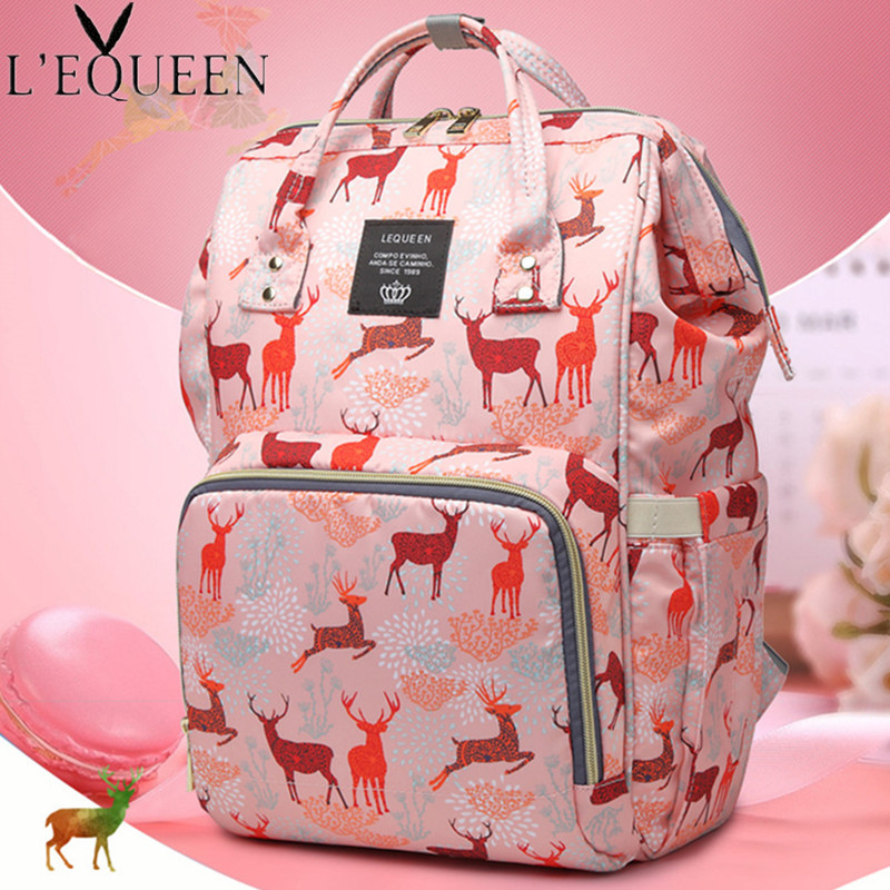 LEQUEEN Diaper Bag Animal Print Tote Multi-Function Large Capacity Portable Mummy Nappy Bags Travel Stroller Mother's Bag