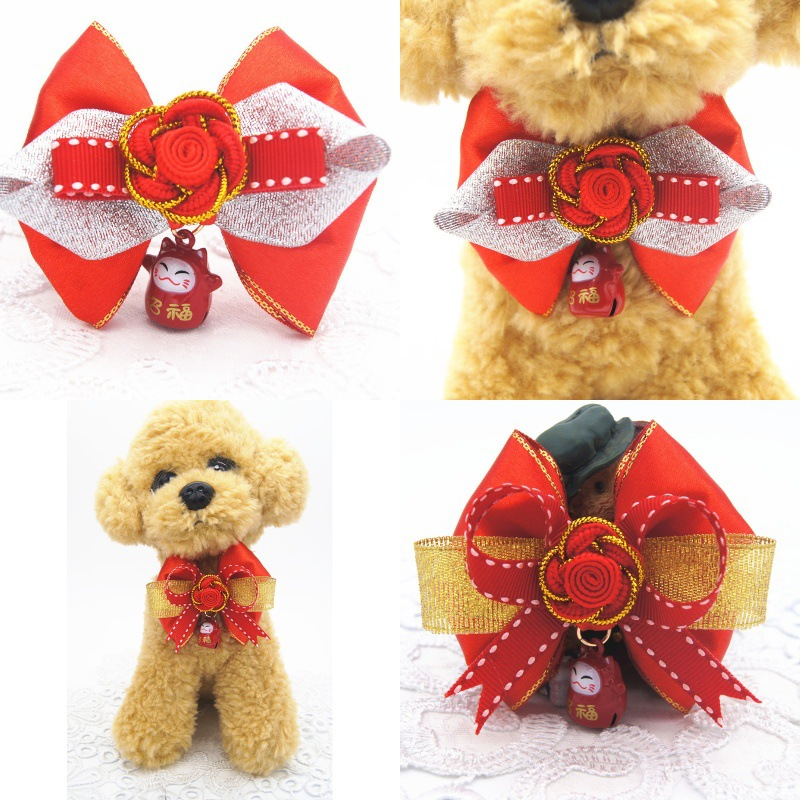 Handmade New Style Beckoning Cat Bow Bell Pet Collar Dog Traction Pet Supplies