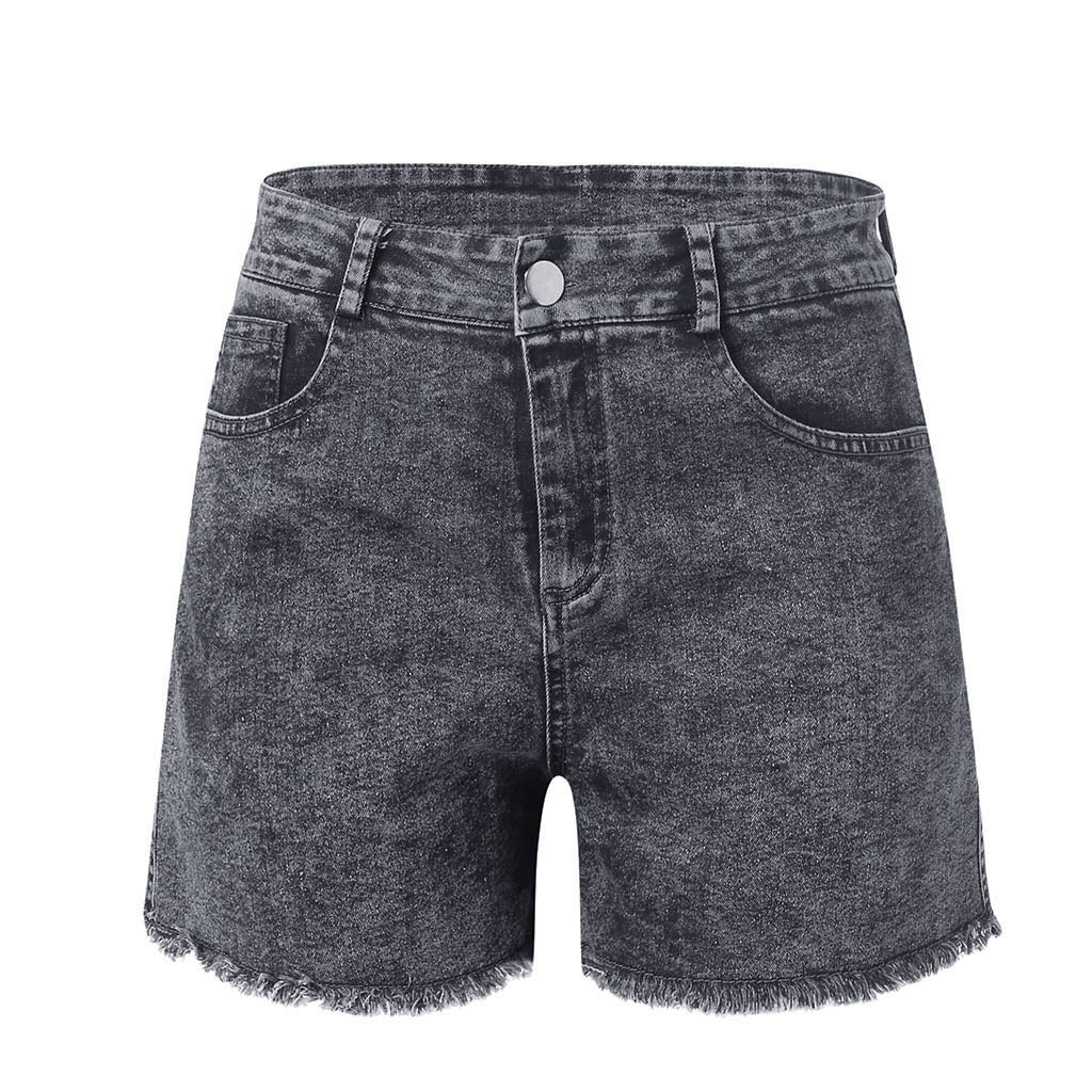 Women Summer Denim Shorts Female Hole Low Waist Shorts Tassel Jeans Sexy Casual Plus Size Wash Waisted Skinny Solid Jean #A