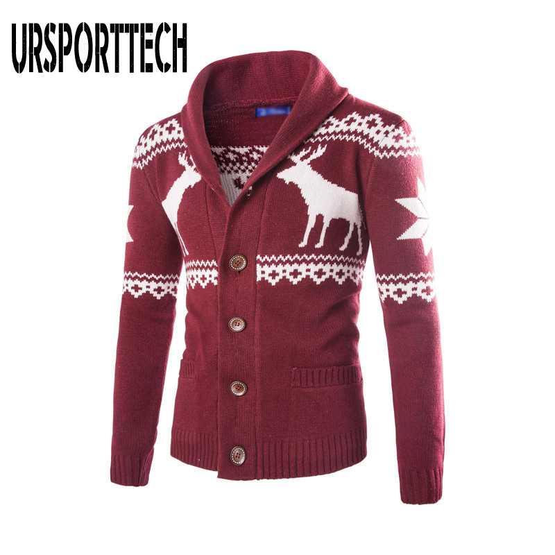 Spring Autumn Warm Christmas Sweater Men Fashion Deer Printed Jacket Coat Casual V Neck Collar Knitting Mens Cardigan Sweaters