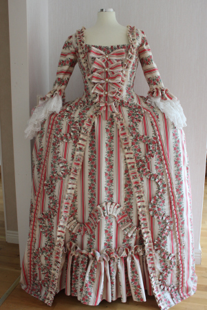 Christmas Marie Antoinette Gown Dress Rococo 18th Century Europe Historical Rose Dress Gown Sack-back Gown Robe A La Francaise