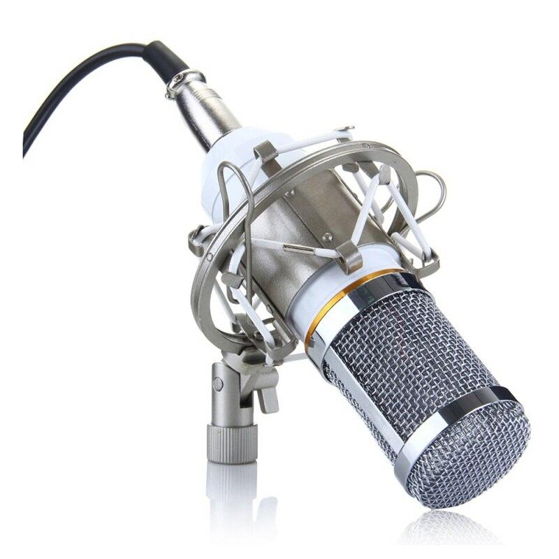 Condenser Miniphone Professional Audio Studio Recording Miniphone With Shock Mount White BM-800