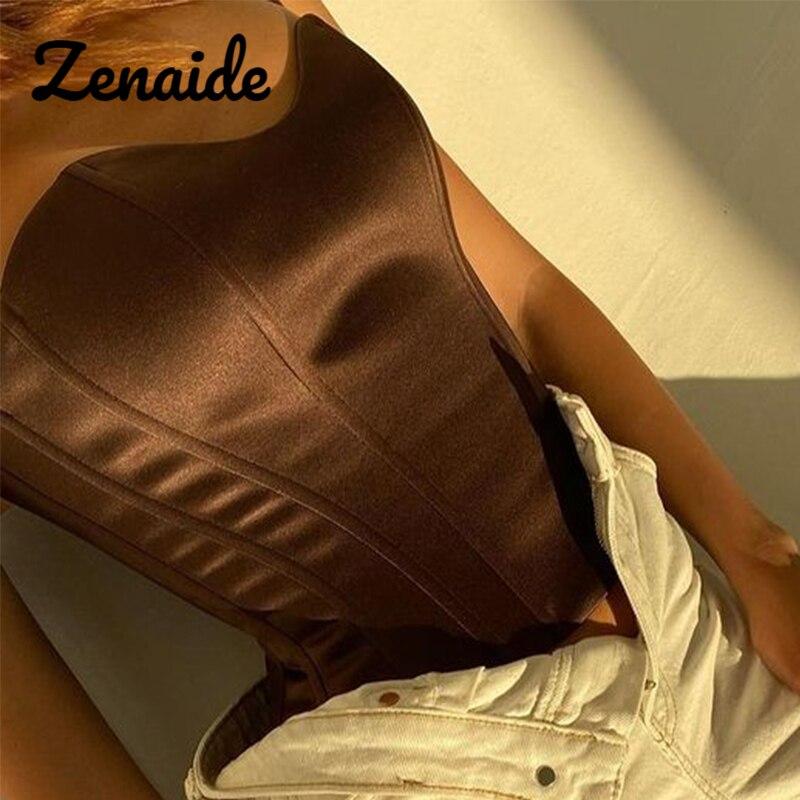 Женский атласный корсет без бретелек Zenaide, коричневая Женская одежда с открытыми плечами, бюстье, летняя уличная одежда 2021, укороченный топ
