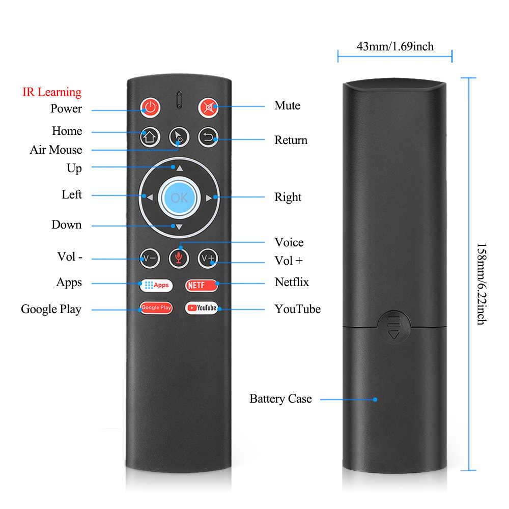 Suara Remote Control T1 2.4G Nirkabel Udara Mouse Gyro untuk Android TV BOX Google Bermain Youtube X88 Pro H96 MAX HK1 T95 TX6