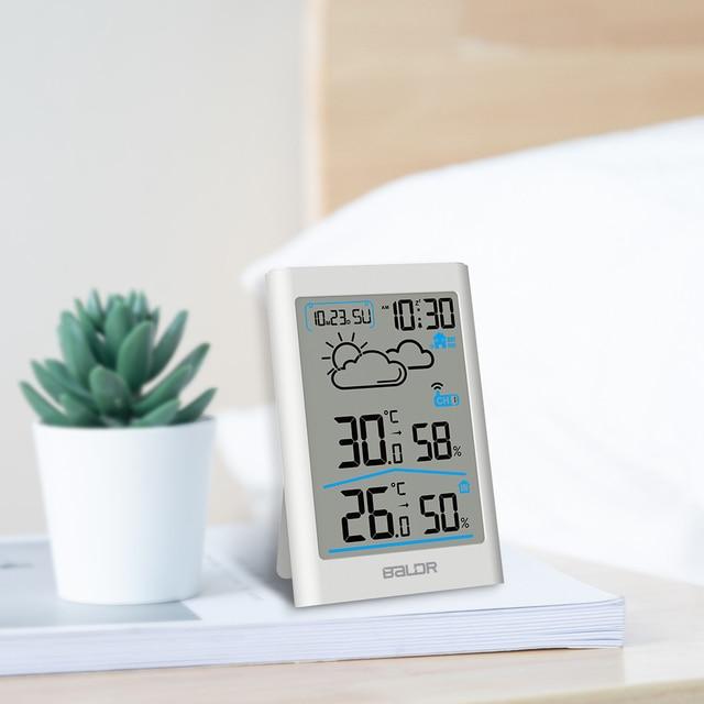 Baldr  Weather Station LCD Thermometer Hygrometer Meter Forecast Sensor Indoor Outdoor Sensor 6
