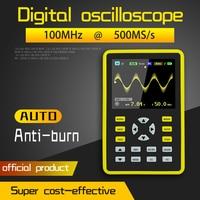 FNIRSI-5012H 2.4 polegadas tela digital osciloscópio 500 ms/s taxa de amostragem 100 mhz suporte de largura de banda analógica armazenamento de forma de onda