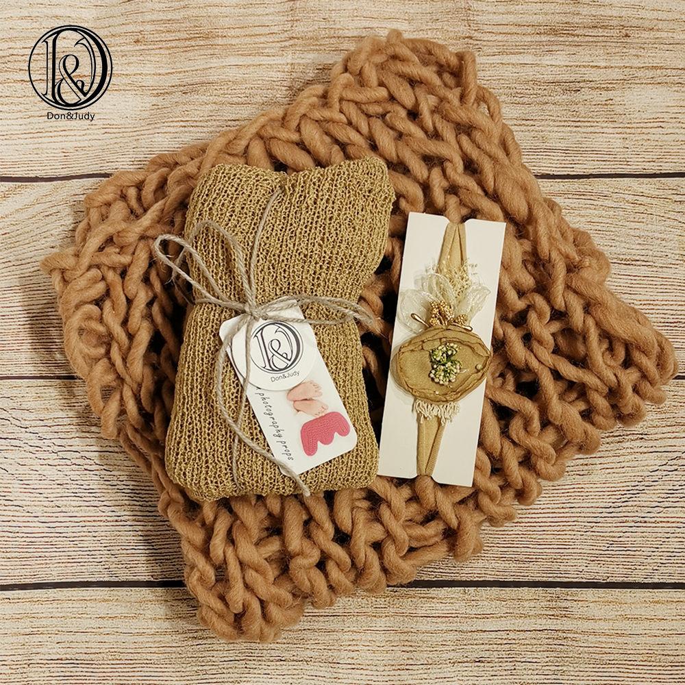 Don&Judy Newborn Photography Props Accessories Soft Wool Blanket+Wrap+Headband Set Baby Photo Props Studio Shooting Photo Props