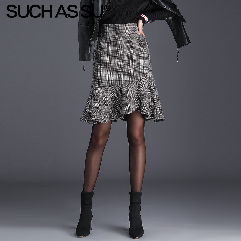 New Autumn Winter Knit Lattice Skirts Women 2019 Gray High Waist Knee-Length Mermaid Skirt S-3XL Plus Size Ruffle Skirt Female
