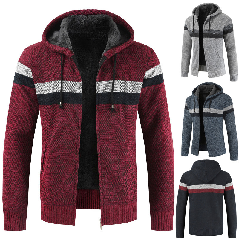 New Sweater Men Casual Hooded Jacket Autumn Warm Thick Slim Fit Mens Sweaters Wool Pull Homme Cardigan Zipper Outwear Coat 2019