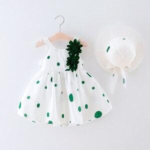 Verão novo vestido de bebê casual + chapéu algodão impressão flor dot sem mangas infantil vestidos da menina da criança do bebê meninas apliques roupas
