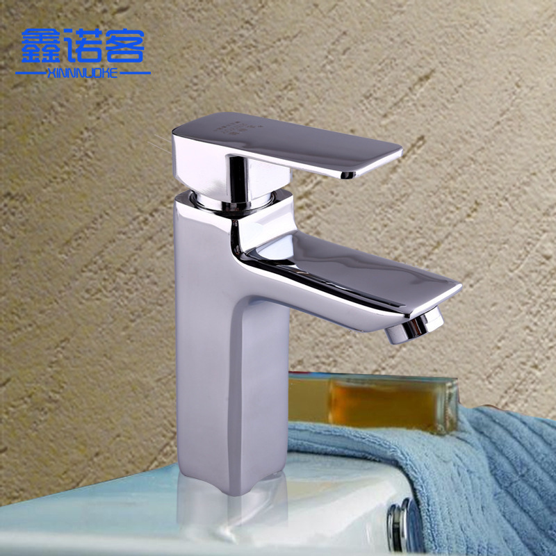 Wholesale Copper Single Handle Square Basin Faucet Bathroom Cabinet Tap Single Bore Hot And Cold Mixing Faucet Processing Custom