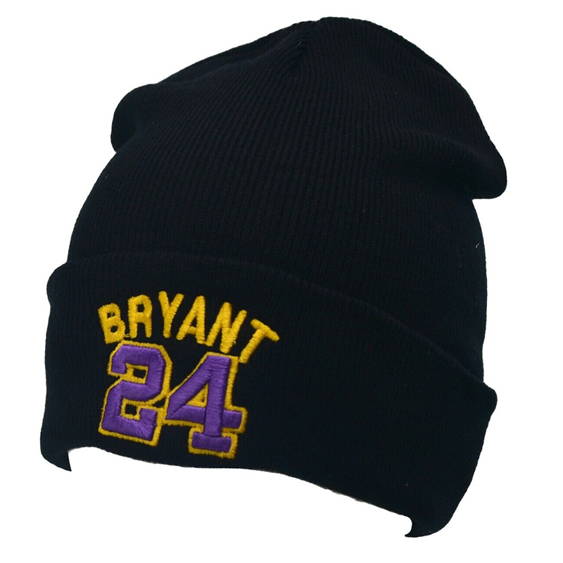 KOBE BRYANT Beanie 24 Cotton 3D Embroidery Winter Hat Mamba Knitted Bryant Hat Skullies Beanies Hat Hip Hop Knit 8 Kobe Cap