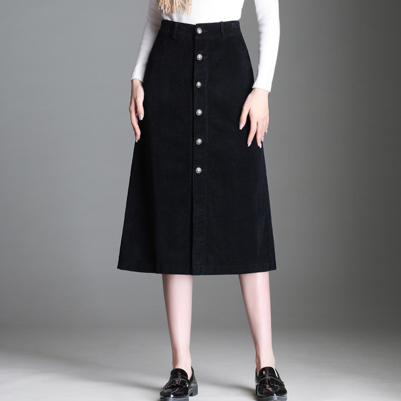 Corduroy Mid-length Skirt Women's Spring And Autumn 2019 New Style High-waisted Fashion Slit Skirt Slimming One-step Skirt