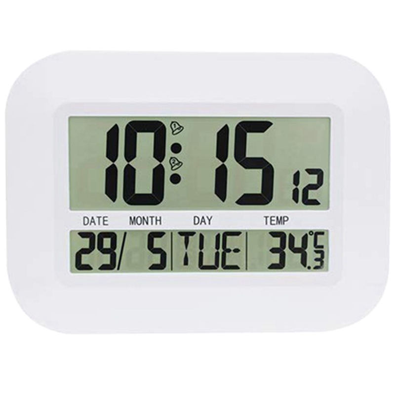 Digital Wall Clock Battery Operated Simple Large LCD Alarm Clock Temperature Calendar Date Day for Home Office