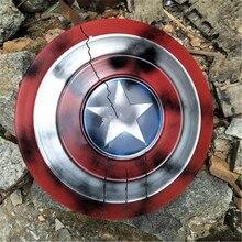 Escudo de Capitán América para niños, arma escudo redondo de Metal completo, Halloween, superhéroe, Cosplay, regalo para niños, decoración