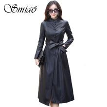 Smiao 2017 Fashion X-Long Single Breasted Women Leather Jacket Plus Size Autumn Winter faux leather Coat Female Windbreaker 5XL цены