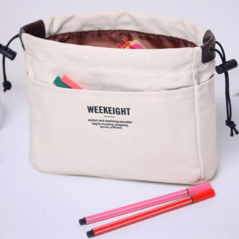 2019 Canvas Cosmetic Bag Organizer Bag Insert With Compartments Makeup Organizer Handbag Women Large Make Up Bag