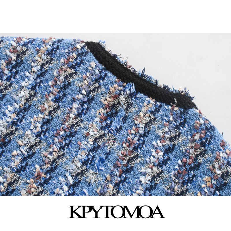 KPYTOMOA 여성 2020 패션 주머니 닳은 트림 트위드 자켓 코트 빈티지 V 넥 긴 소매 여성 겉옷 세련된상의
