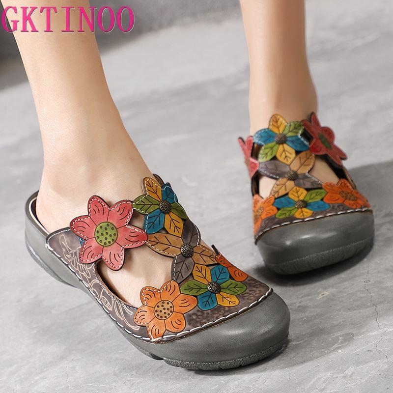 GKTINOO zapatillas de flores zapatos de cuero genuino hecho a mano chanclas en la plataforma zuecos para mujer Zapatillas de talla grande Zapatillas de piel