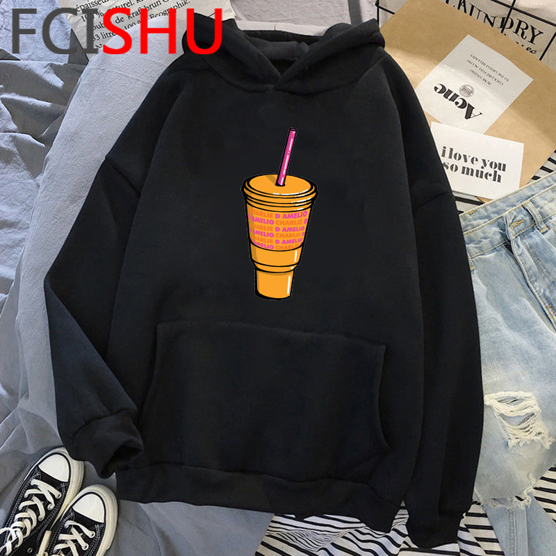 Fashion Charli Damelio Merch Ice Coffee Graphic Hoodies Women Harajuku Ullzang Funny Cartoon Sweatshirt Wimter Warm Hoody Female 21