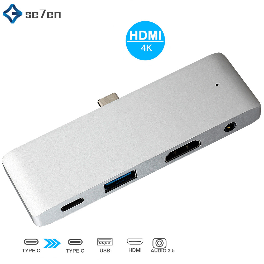 USB Type C Hub Adapter 4in 1 USB Type C Dock for MacBook Pro with USB-C 4K HDMI Card Reader USB 3.0 & 3.5mm Headphone Jack