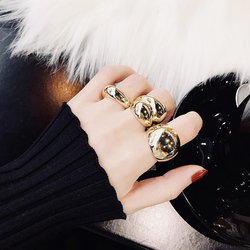 New Chic Gold Color Metal Fat Open Rings Personality Finger Rings for Women Girls Party Jewelry Gifts Open Adjustable Ring 2020